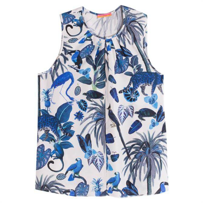 Vilagallo Edna Blue Jungle Sleeveless Top