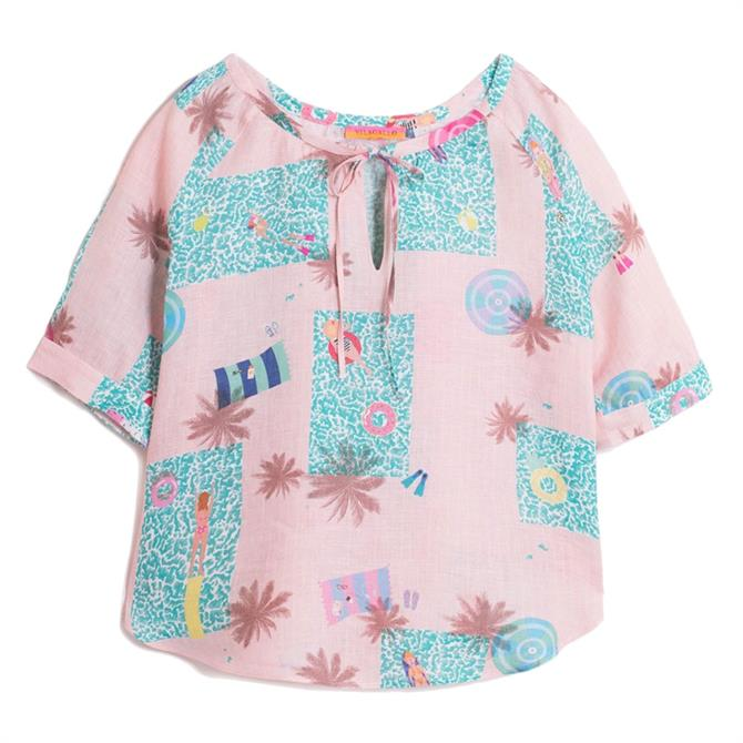 Vilagallo Frida Melrose Pool Print Linen Shirt