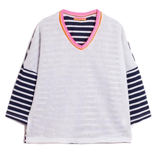 Vilagallo Patsy Contrast Striped Linen Blend T-Shirt
