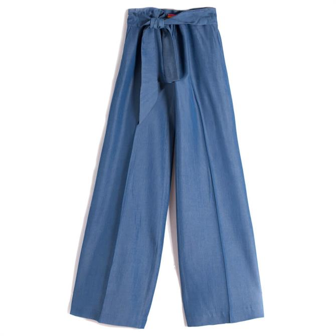 Vilagallo Penelope Light Denim Loose Fit Belted Trouser