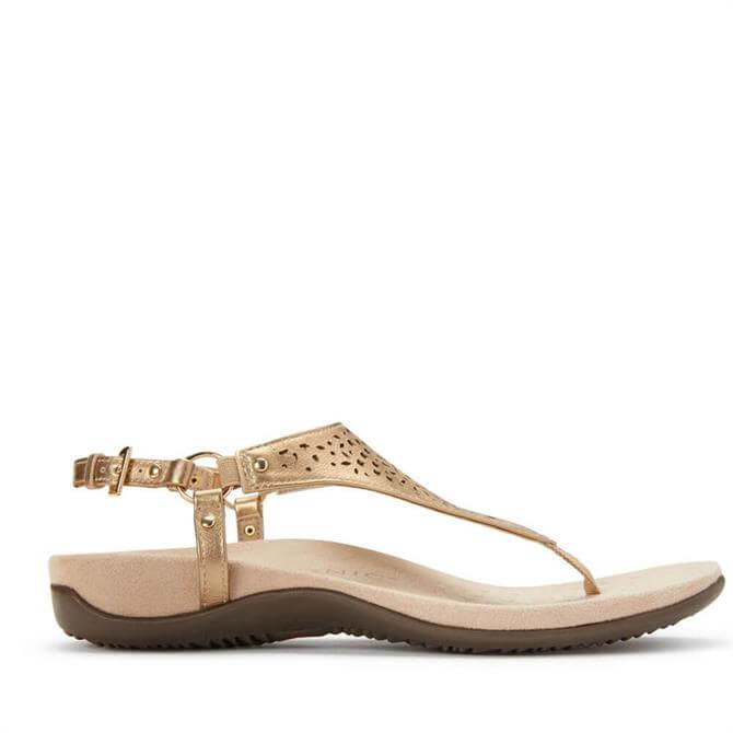 Vionic Kirra Gold Punched Pattern Thong Sandals