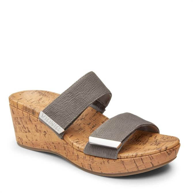 Vionic Pepper Cork Wedge Grey Sandals