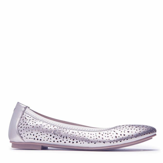 Vionic Robyn Punched Design Ballet Pumps in Pewter