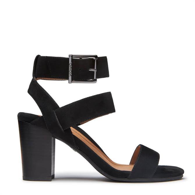 Vionic Sofia Heeled Black Suede Sandals