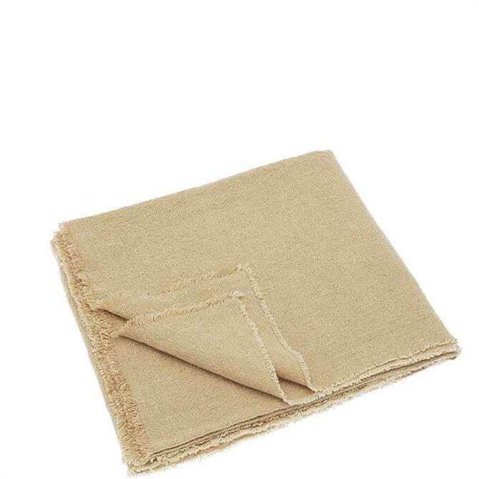 Walton & Co Beige Linen & Cotton Throw