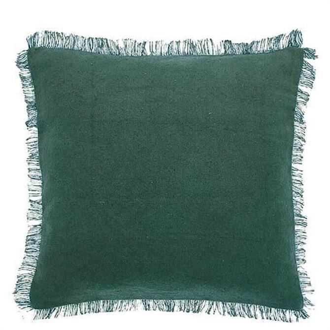 Walton & Co Slate Green Dhurrie Fringe Cushion