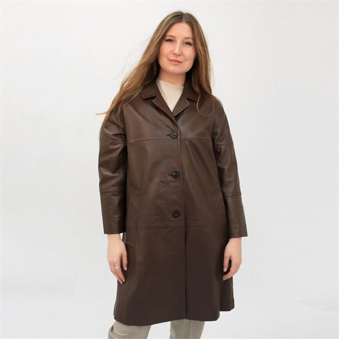 Weekend Max Mara Pantone Soft Leather Midi Duster Coat