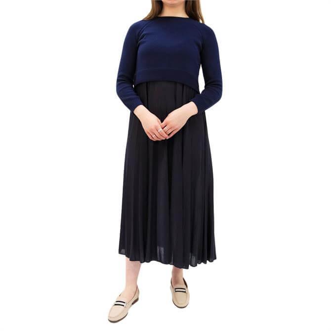 Weekend Max Mara Aidonne Sweater and Pleated Skirt Midi Dress
