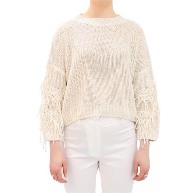 Weekend Max Mara Estroso Tassel Trim Linen Sweater