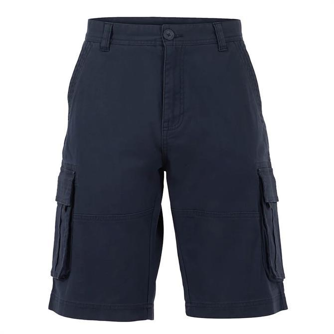 Weird Fish Navy Rigney Organic Cotton Cargo Shorts
