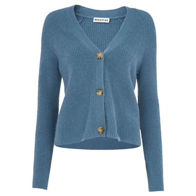 Whistles Blue Rib Textured Wool Mix Cardigan
