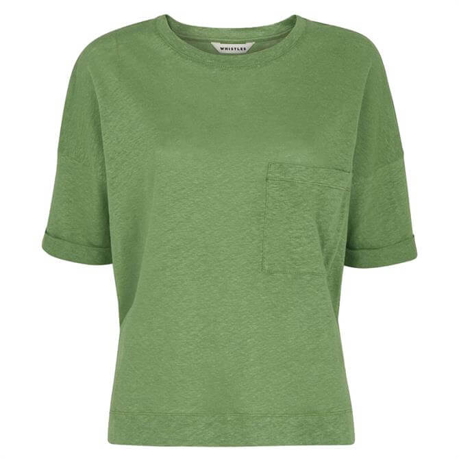 Whistles Green Linen Pocket Top