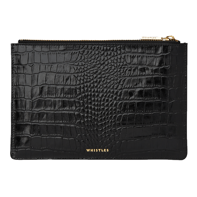 Whistles Black Shiny Croc Small Clutch