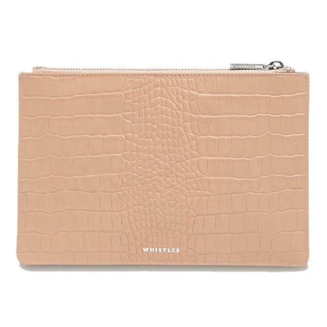 Whistles Nude Matte Croc Small Clutch Bag