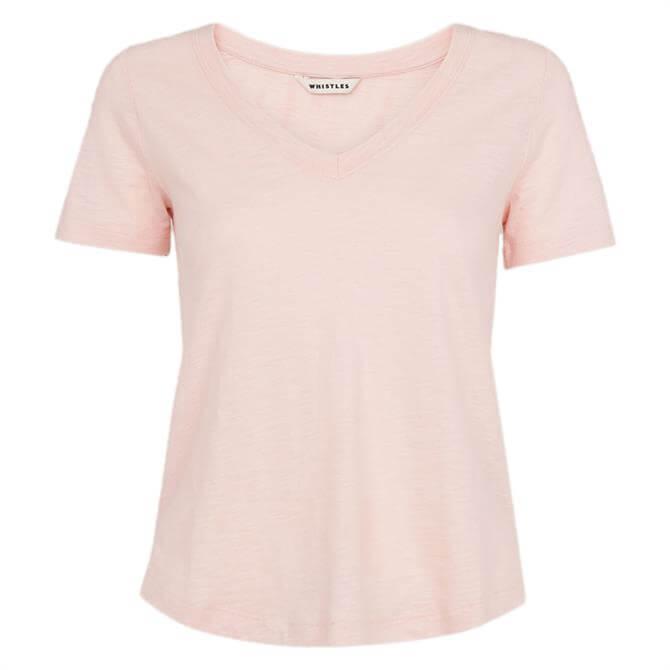 Whistles Sophie V-Neck Pale Pink Cotton T-Shirt