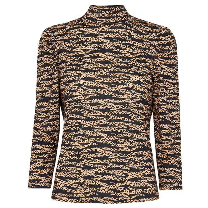 Whistles Tiger Leopard Print High Neck Top
