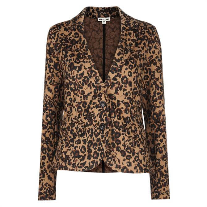 Whistlrs Leopard Print Animal Jacquard Jacket