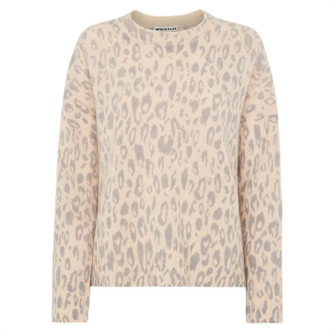 Whistles Animal Print Merino Wool Knit