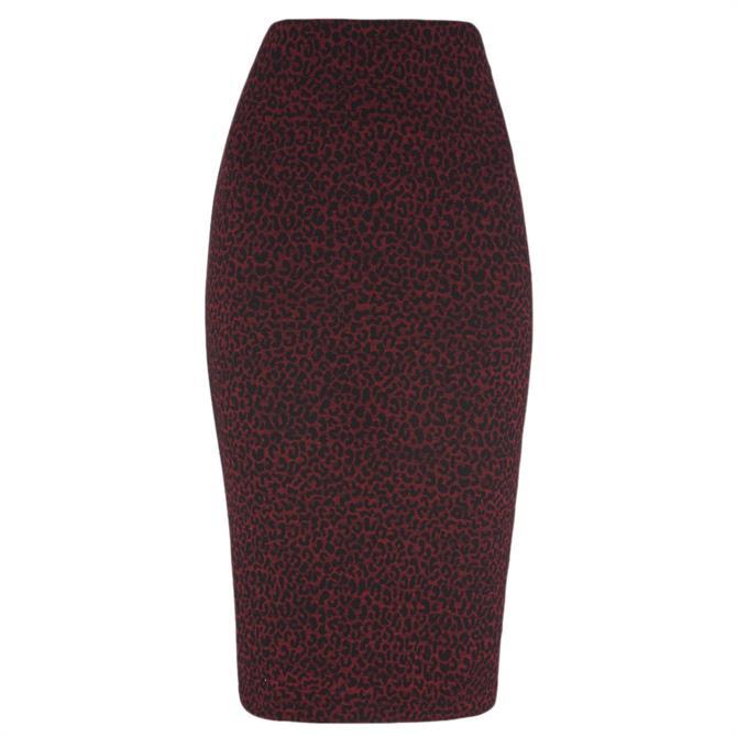 Whistles Animal Jacquard Burgundy Tube Skirt