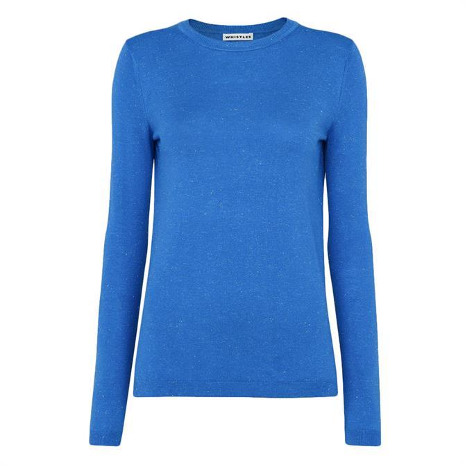 Whistles Annie Sparkle Blue Knit Sweater