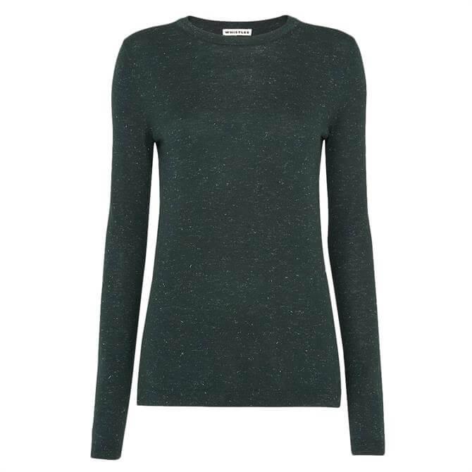 Whistles Annie Sparkle Dark Green Knit Sweater