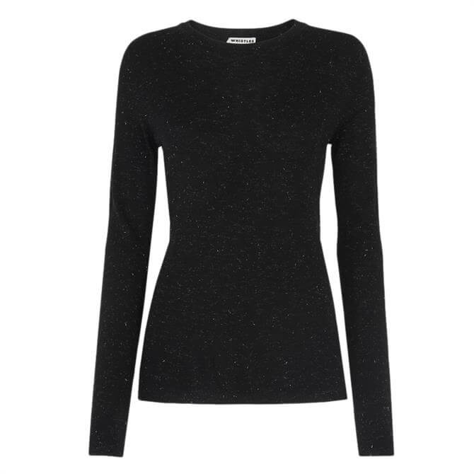 Whistles Annie Sparkle Knit Black Sweater