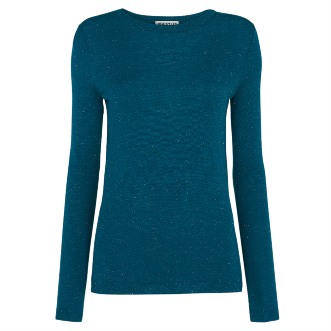 Whistles Annie Sparkle Teal Knit Sweater