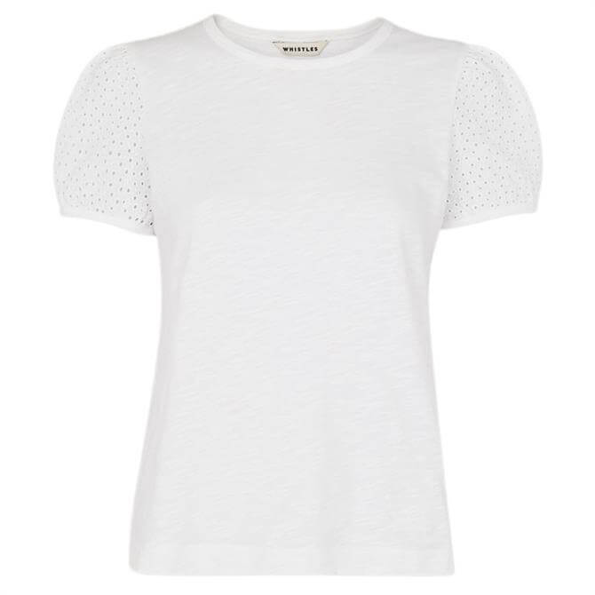 Whistles White Broderie Puff Sleeve T-Shirt
