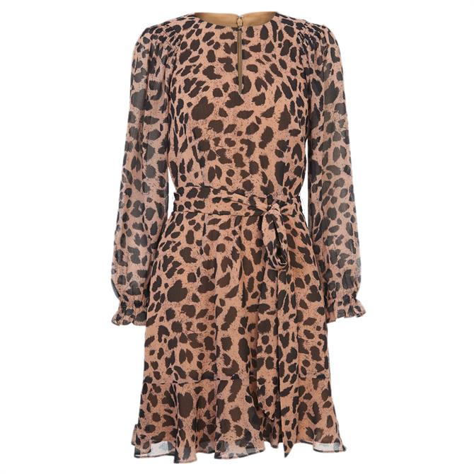 Whistles Brushed Cheetah Flippy Dress