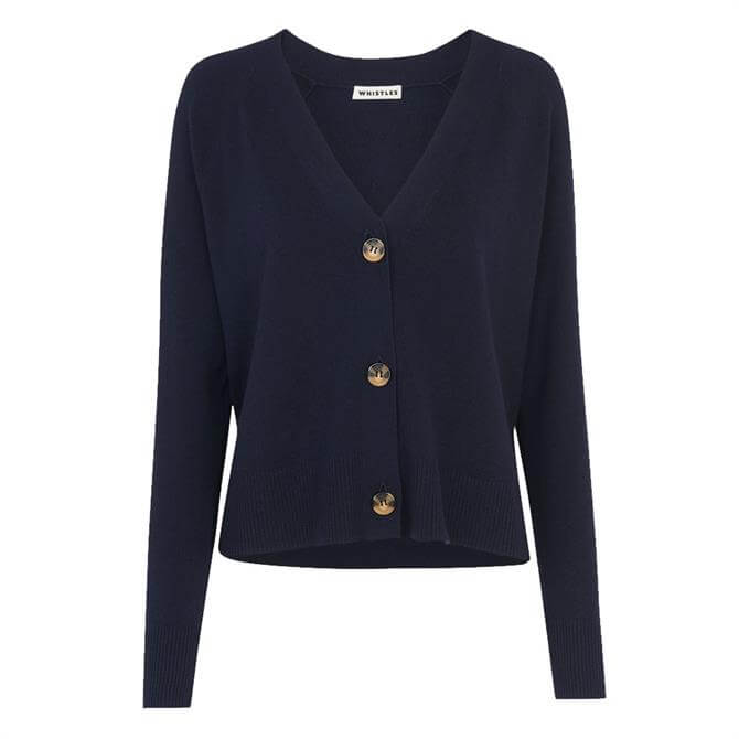 Whistles Button Front Cotton Blend Navy Cardigan