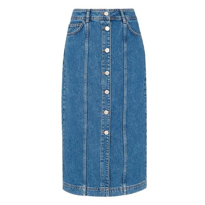 Whistles Denim Button Through Midi Skirt