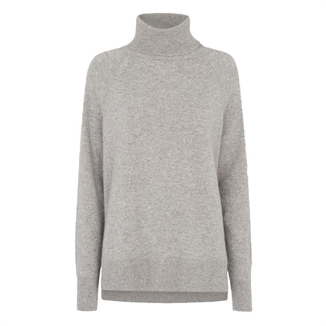 Whistles Grey Cashmere Roll Neck Knit Jumper