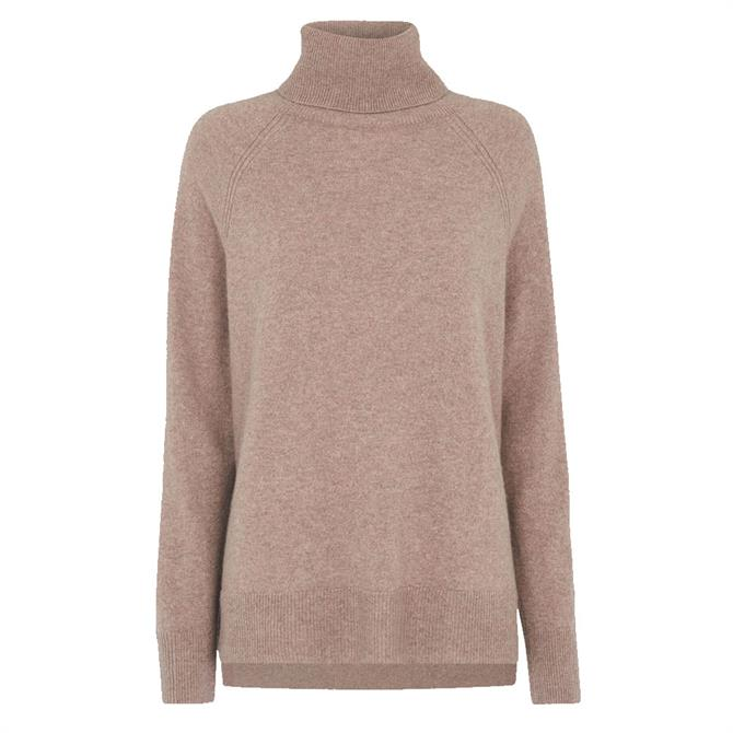 Whistles Oatmeal Cashmere Roll Neck Knit Jumper