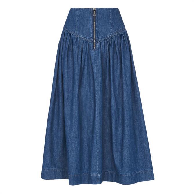 Whistles Zip Detail Chambray Midi Skirt