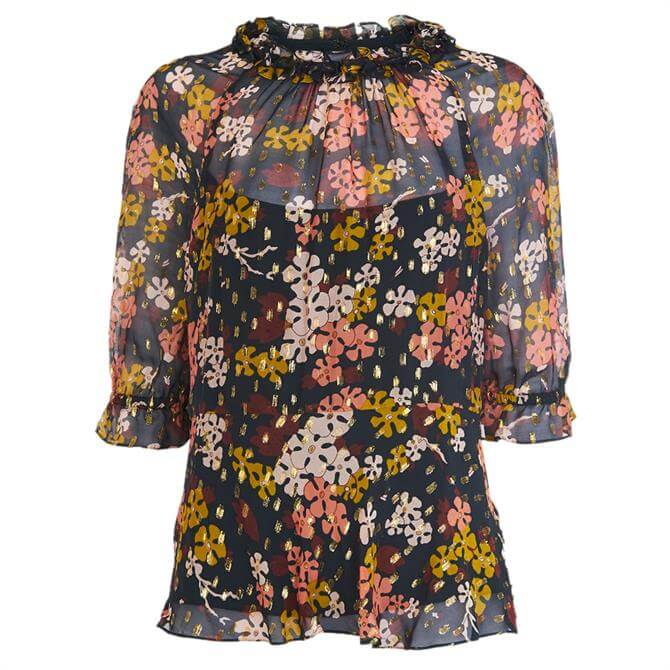 Whistles Clover Floral Silk Mix Top