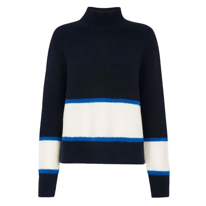Whistles Colour Block Funnel Neck Knit Jumper