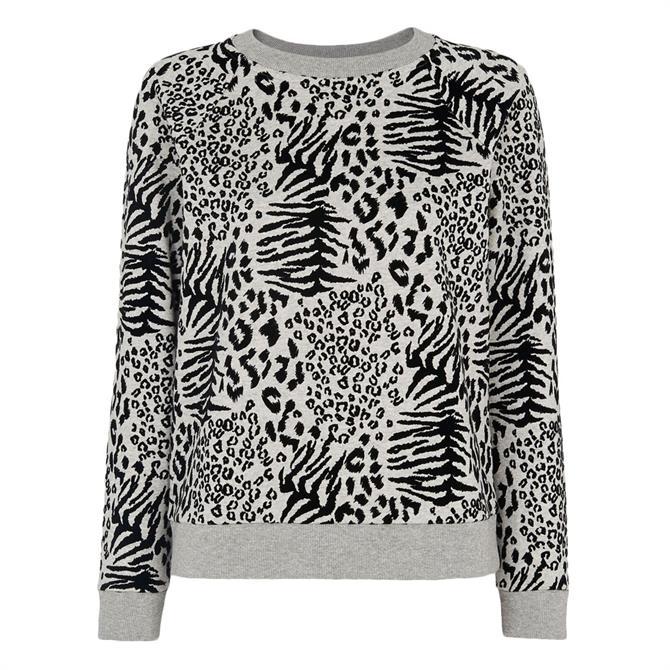 Whistles Flocked Animal Grey Marl Sweatshirt