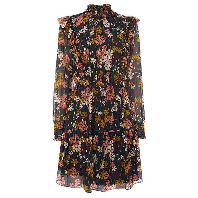 Whistles Floral Ruffle Silk Mix Dress