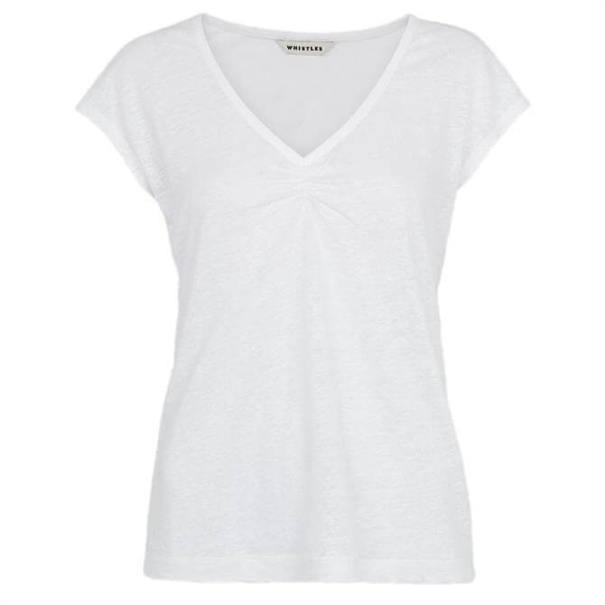 Whistles Gathered Front White Linen T-Shirt