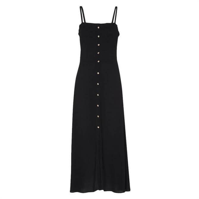 Whistles Gracia Smocked Black Dress