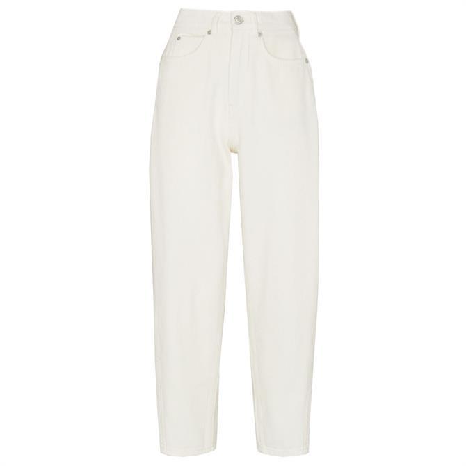 Whistles High Waist White Barrel Leg Jeans