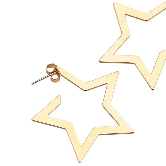 Whistles Large Star Outline Gold Earrings