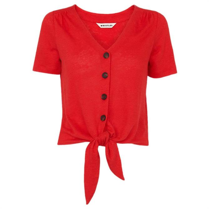 Whistles Red Linen Button Front Tie Top