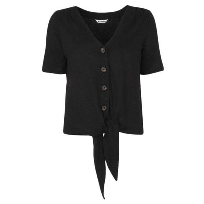 Whistles Black Linen Button Tie Front Top