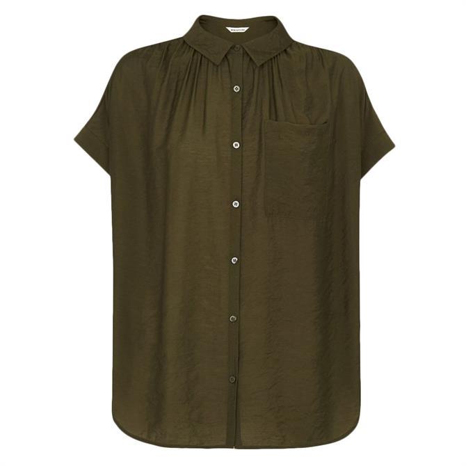 Whistles Nicola Button Through Khaki Short Sleeved Shirt