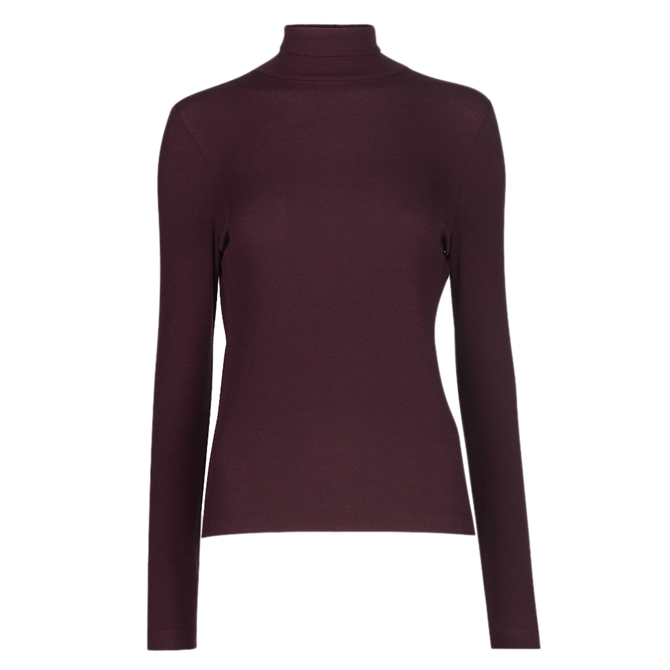 Whistles Burgundy Essential Polo Neck Top