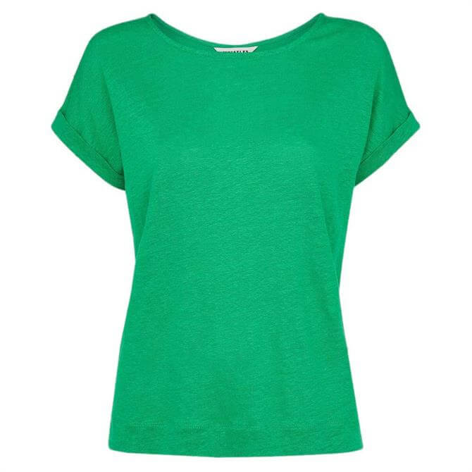 Whistles Green Relaxed Linen T-Shirt