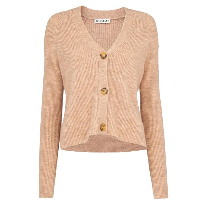 Whistles Rib Textured Wool Mix Cardigan