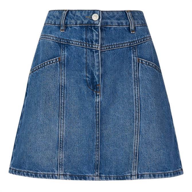 Whistles Seam Detail Denim Skirt