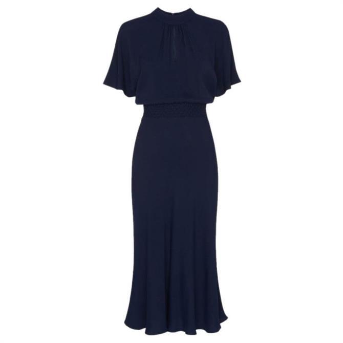 Whistles Shirred Waist Midi Dress